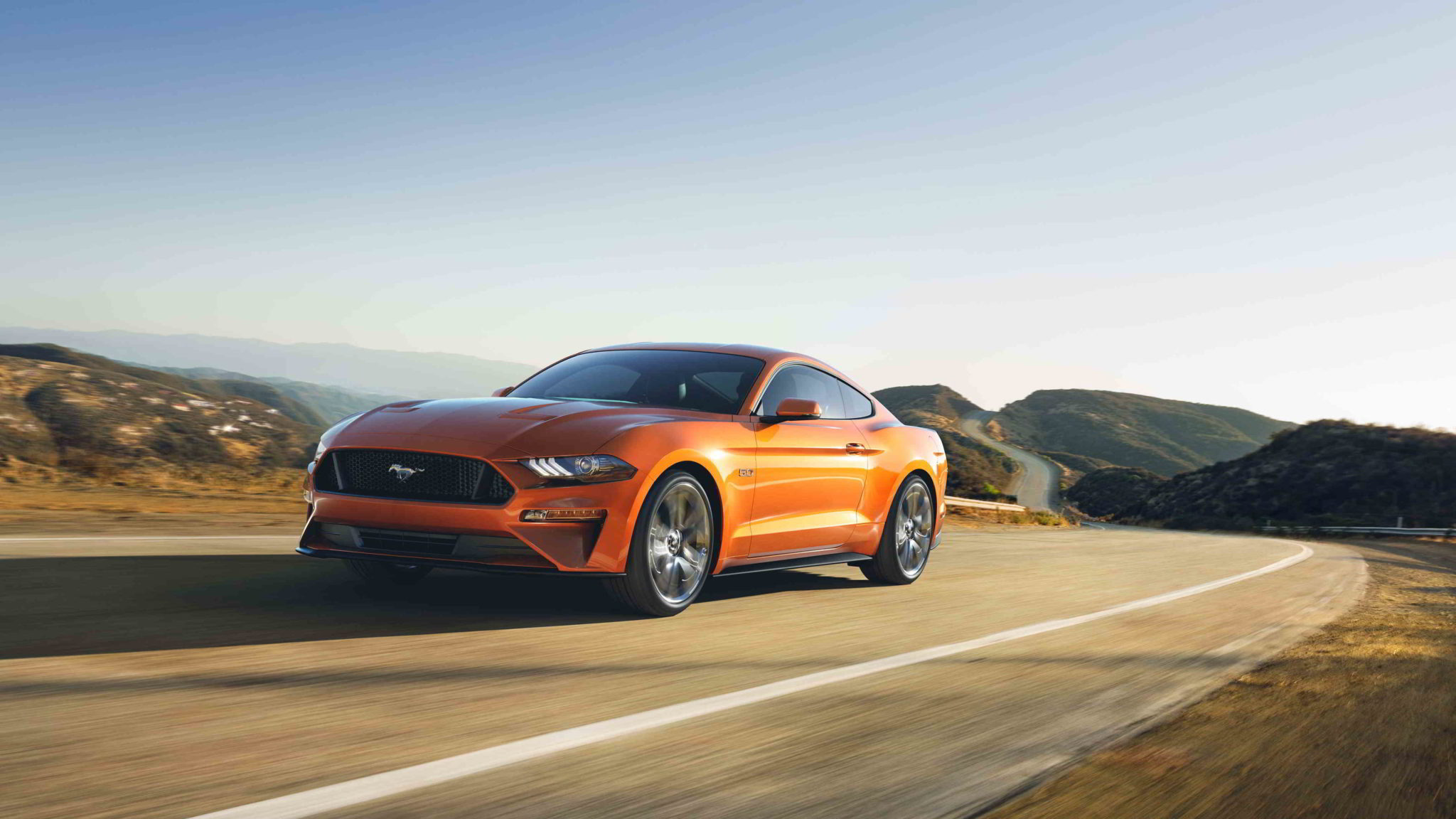 orange ford mustang v8 wallpaper