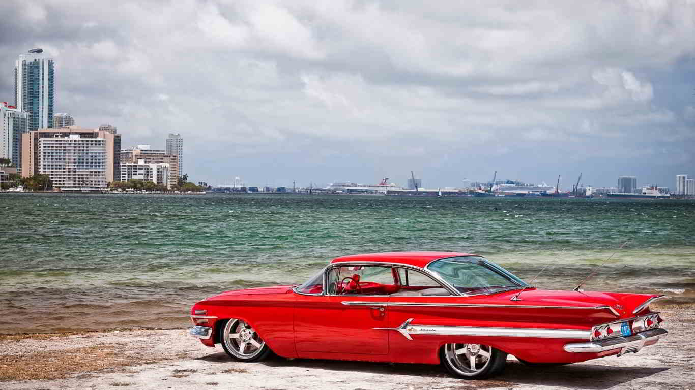 red chevrolet impala beach wallpaper