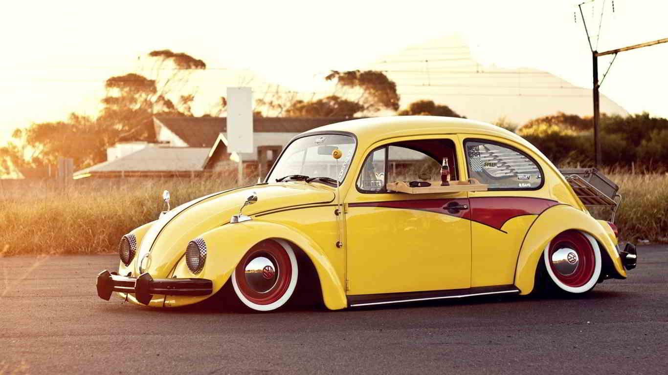 yellow volkswagen beetle classic front view wallpaper