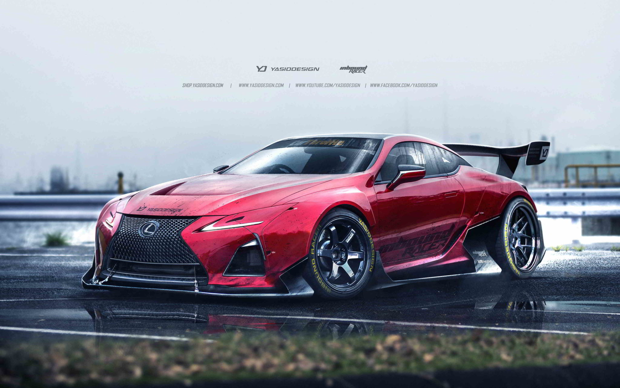 red lexus lc500 artwork wallpaper