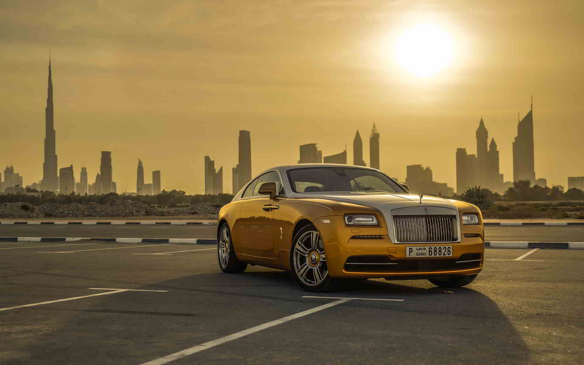 gold rolls royce wraith wallpaper sunset