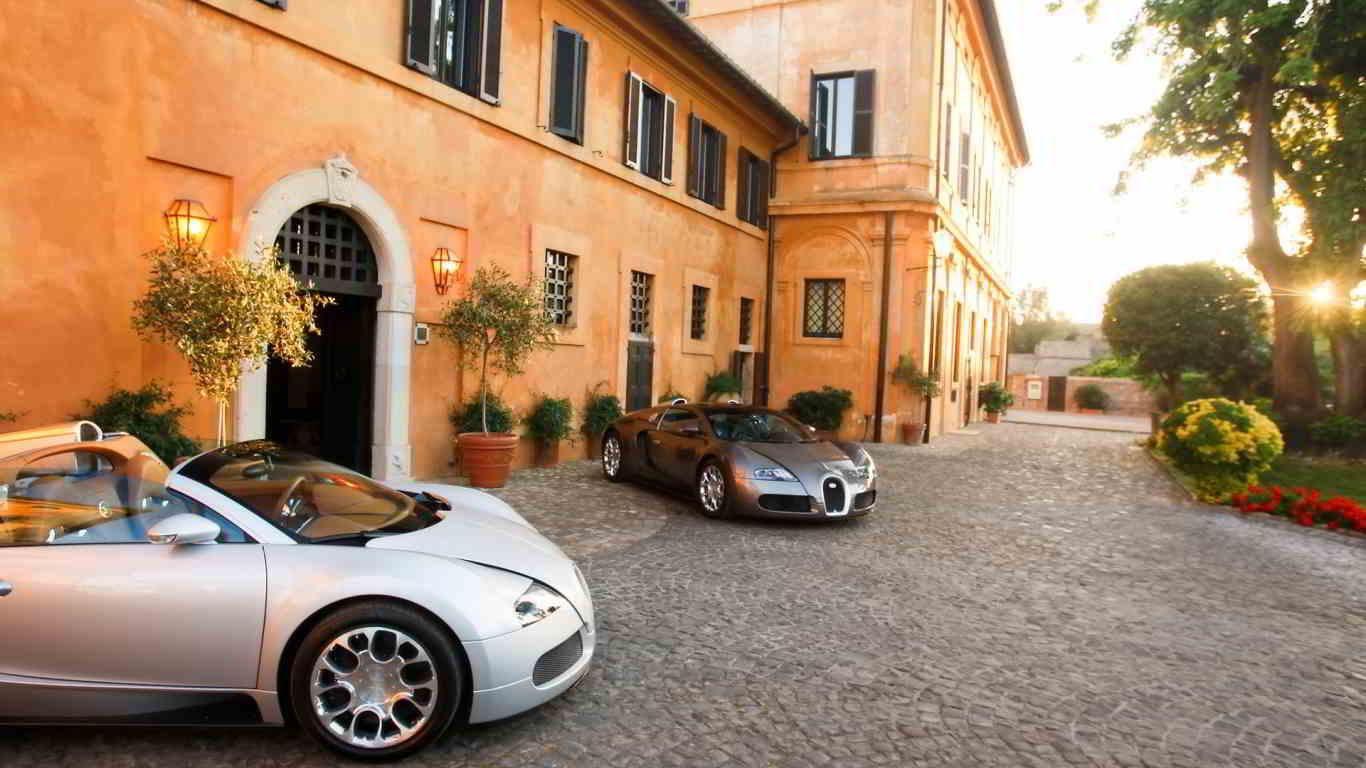 2 bugatti veyron parked wallpaper
