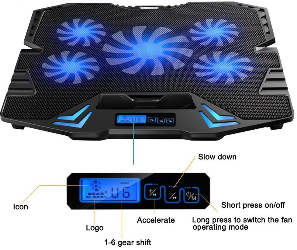 topmate laptop cooling pad with 5 fans